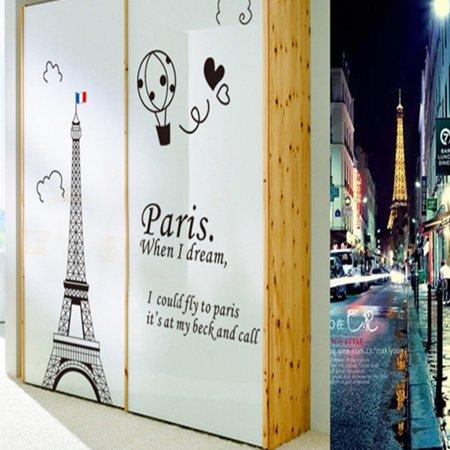 Home Decor amovible Designable PVC Noir DIY Sticker mural Motif Tour Eiffel Blanc 60 x 90 cm - image 4 de 8
