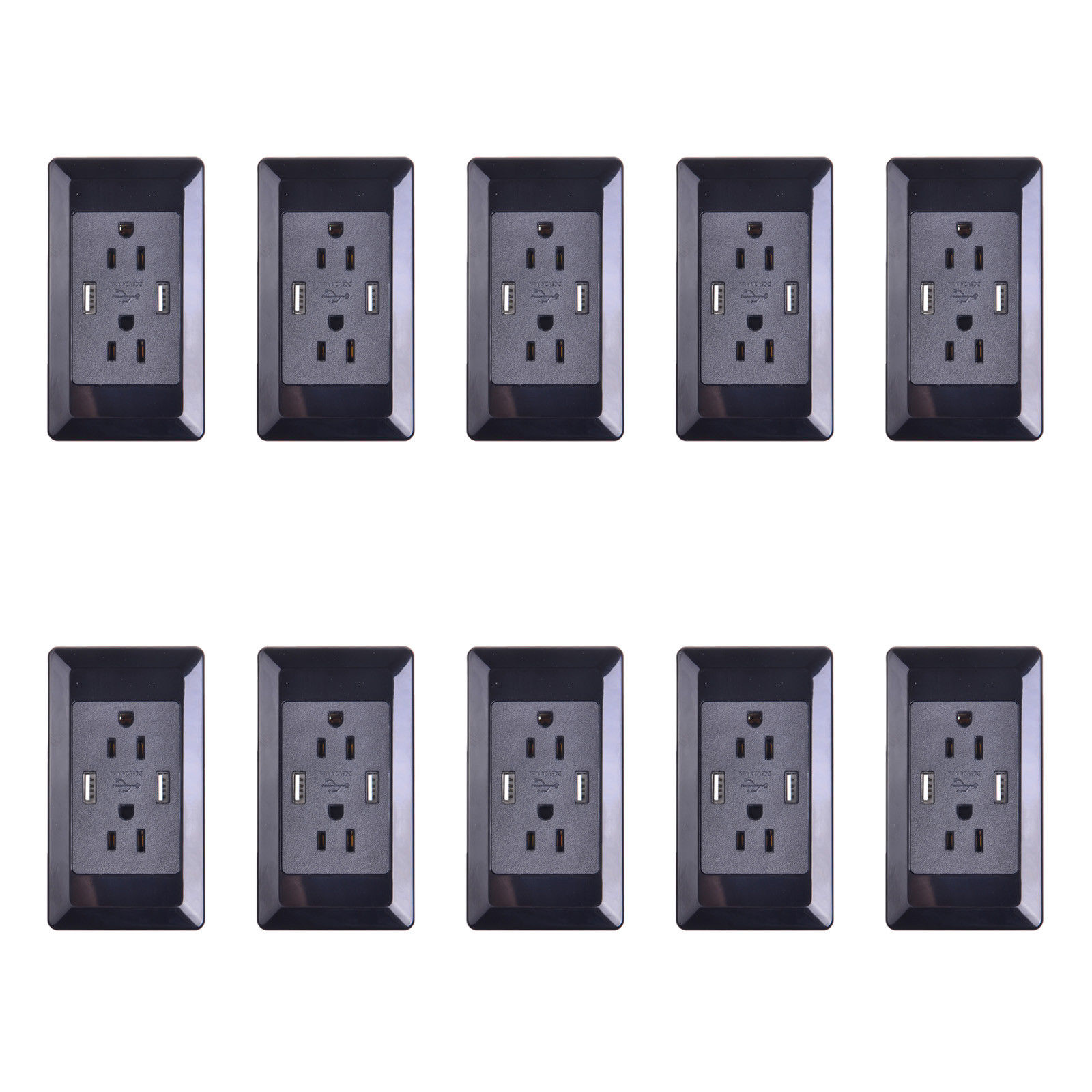 GREENCYCLE 10PK 2A 5V Dual USB Port Electric Wall Charger AC Power Outlet Panel Plate Dock Station Socket Duplex Receptacle Black