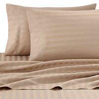Wamsutta Damask Stripe 500-Thread-Count PimaCott Twin Sheet Set in Taupe
