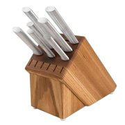 Rada Cutlery Knife Set with Oak Knife Block ? 7 Stainless Steel Culinary Knives with Aluminum Handles