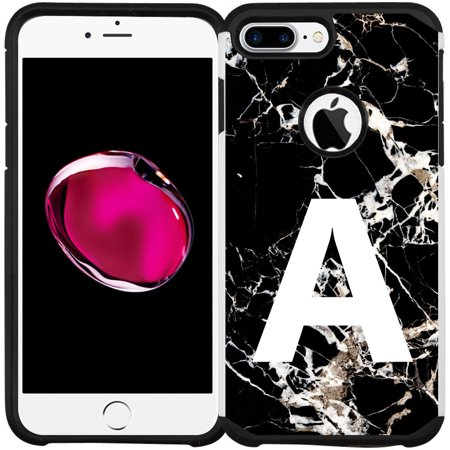 iPhone 8 Plus Case, iPhone 7 Plus Case - A to Z Initial Phone Case Slim Hybrid Dual Layers Shock Proof Protective