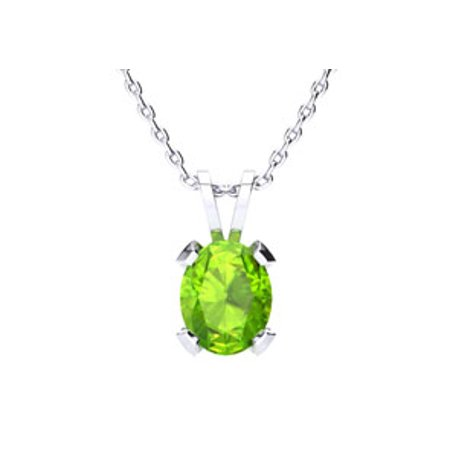 1 1/3 Carat Oval Shape Peridot Necklace In Sterling Silver 18 Inches
