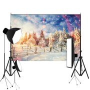 NK HOME Christmas Backdrops 7x5ft Photography Backdrop Christmas Town White Snow Background Outdoor Scene Christmas Tree Customized Photography Background Studio Prop