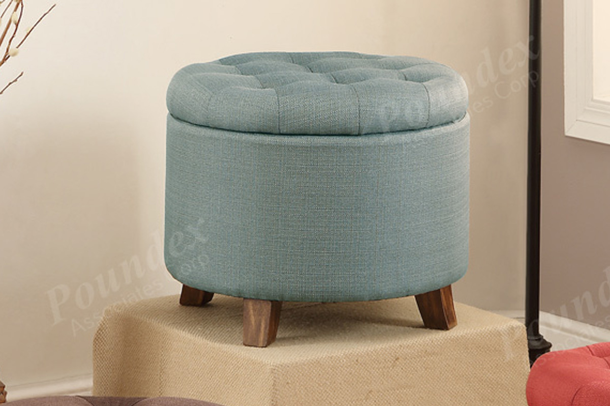 1PerfectChoice Accent Organizer Round Storage Ottoman Footstool Pouf Upholstered Fabric Options Color Light Blue by 1PerfectChoice