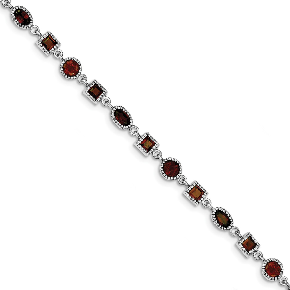 ICE CARATS ICE CARATS 925 Sterling Silver Red Garnet Bracelet 7 Inch Gemstone Fine Jewelry Ideal Gifts For Women Gift... by IceCarats