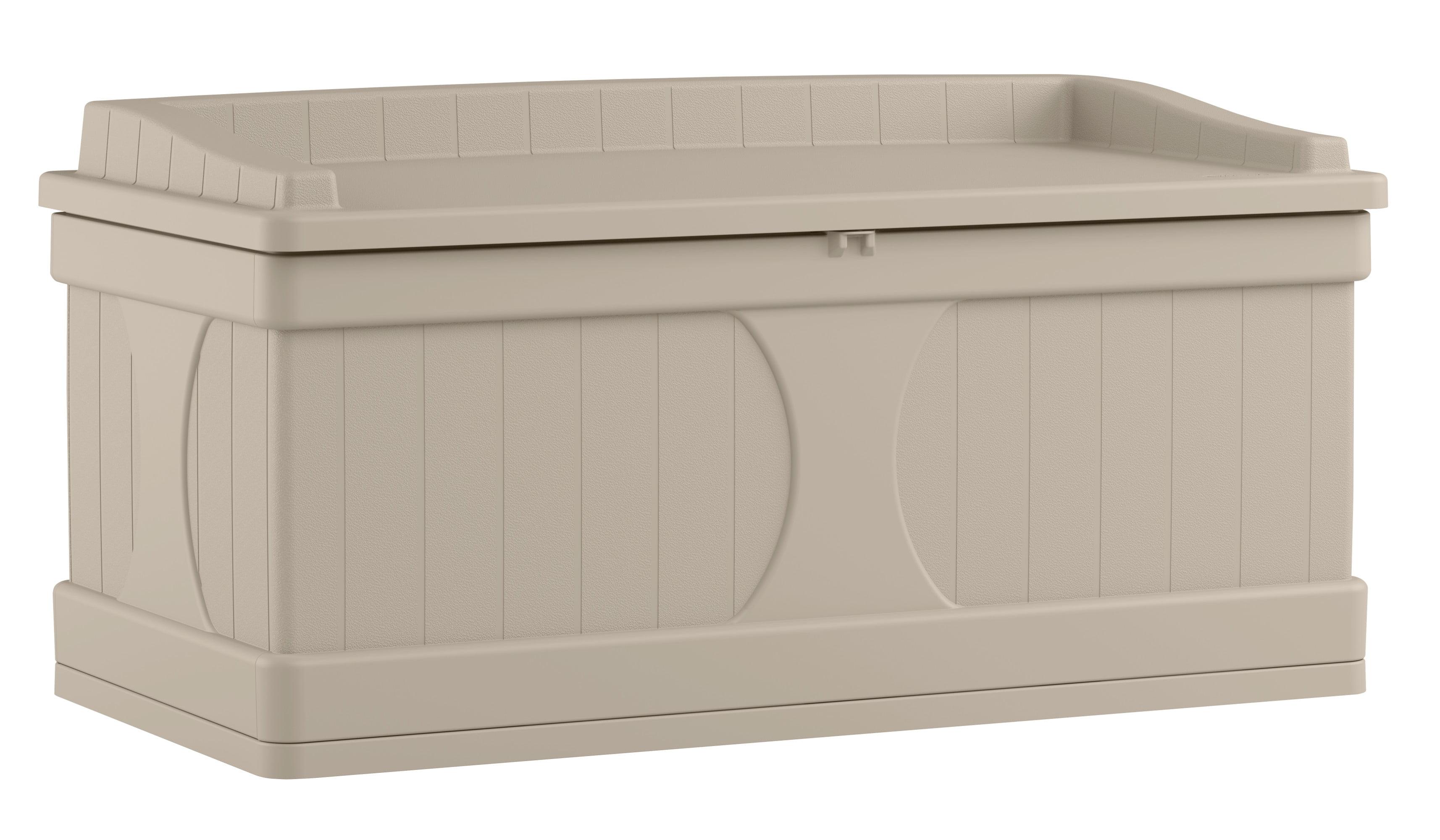 Suncast 99 Gallon Light Taupe Resin Storage Seat Deck Box Db9500