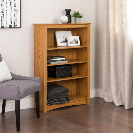 Oak 4-shelf Bookcase - Maple Library Wall Bookcase