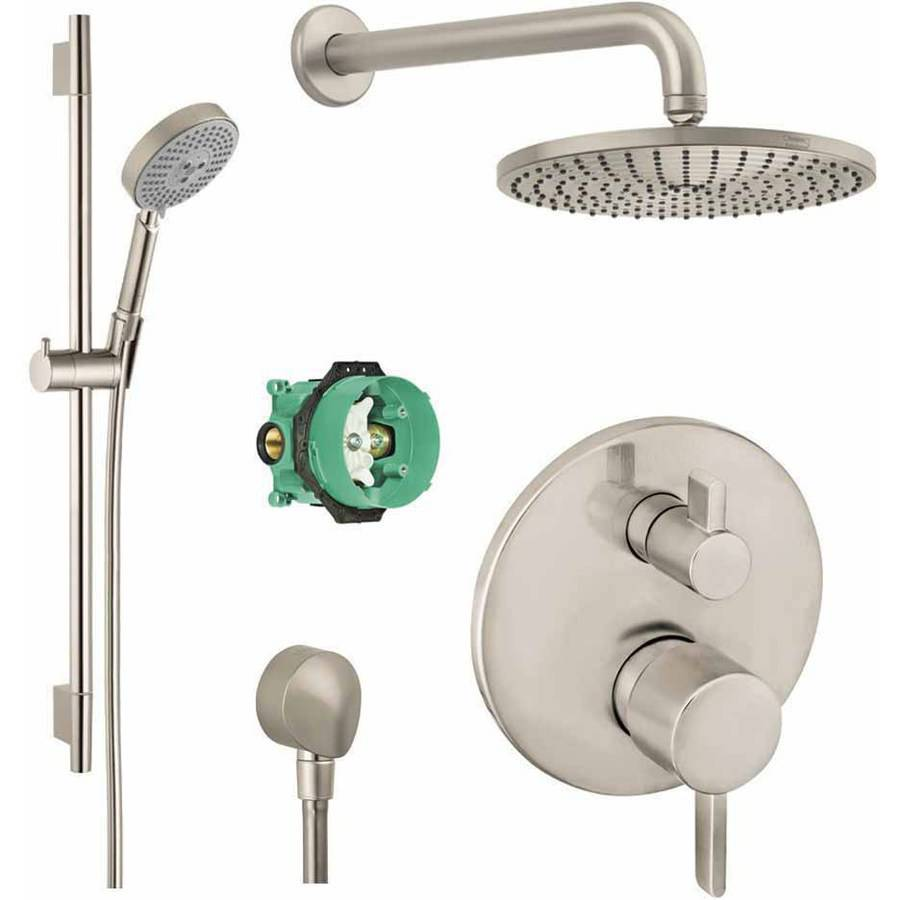 Hansgrohe KSH04447-27474-66PC Raindance Shower Faucet Kit with Handshower Wallbar PBV Trim with Diverter and Rough-In, Various Colors