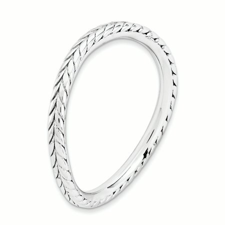 Sterling Silver Stackable Expressions Polished Rhodium-plate Wave Ring Size 5 - image 2 of 3