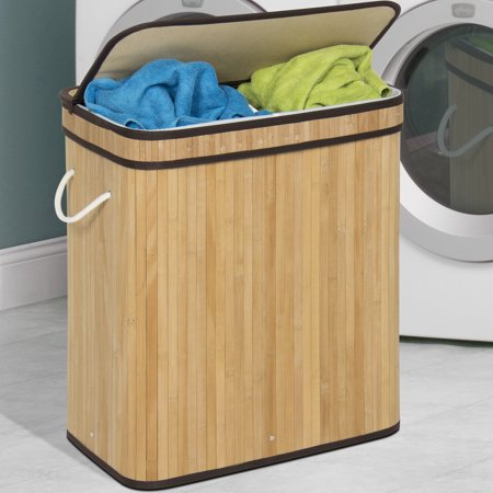 Best Choice Products Foldable Double Section Bamboo Hamper Laundry Basket w/ Removable Liner Bag - - Classic Hamper