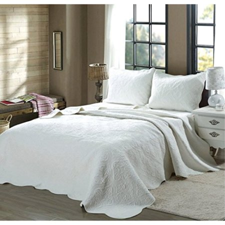 Cozy Line Home Fashions 100 COTTON Victorian Embossed Medallion Solid White Bedding Quilt Set, Reversible Coverlet, Bedspread - Victorian Heart Runner Quilt