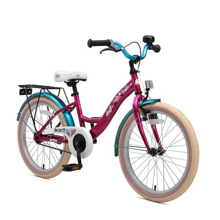 BIKESTAR Original Premium Safety Sport Kids Bike Bicycle with sidestand and Accessories for Age 6 Year Old Children | 20 Inch Classic Edition for Girls | Bewitching Berry & Caribbean
