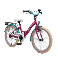 BIKESTAR Original Premium Safety Sport Kids Bike Bicycle with sidestand and Accessories for Age 6 Year Old Children | 20 Inch Classic Edition for Girls | Bewitching Berry & Caribbean Turquoise