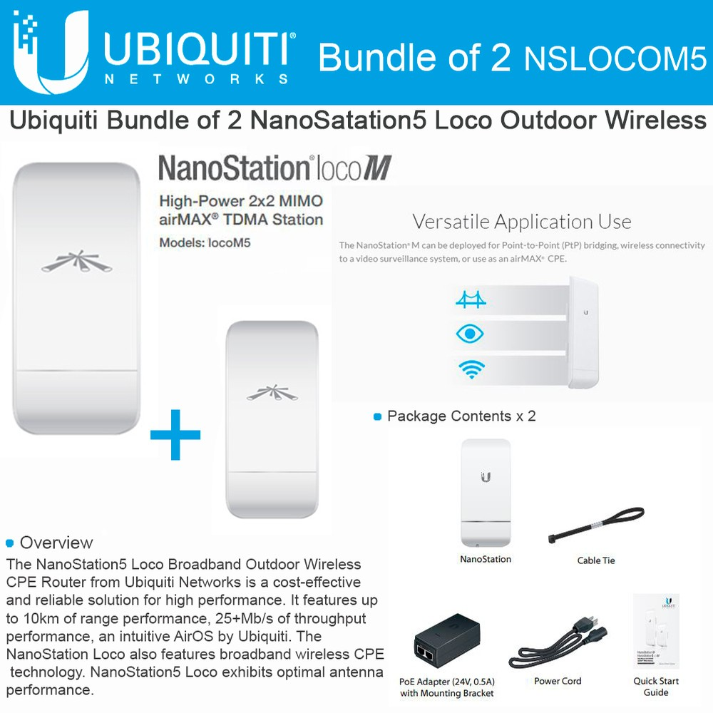 Ubiquiti LocoM5 2 units Nanostation Loco M5 5GHz Indoor Outdoor CPE 150+Mbps