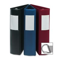 D-Ring Binder with Label Holder, Hvy-Dty, 3 in., Red