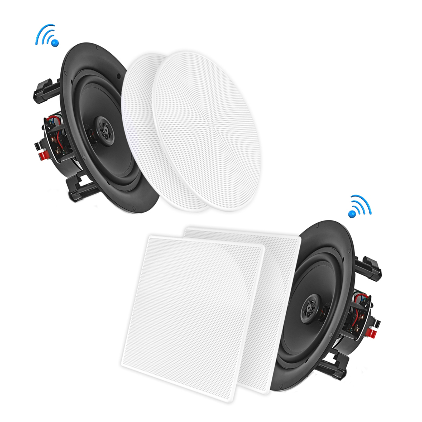 "10"" BT Ceiling / Wall Speaker Kit, (4) Flush Mount 2-Way Home Speakers, 300 Watt (4 Speakers)"