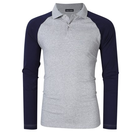 Men's Two Tone Color Blocked Modern Fit Long Sleeve Polo Shirt ...