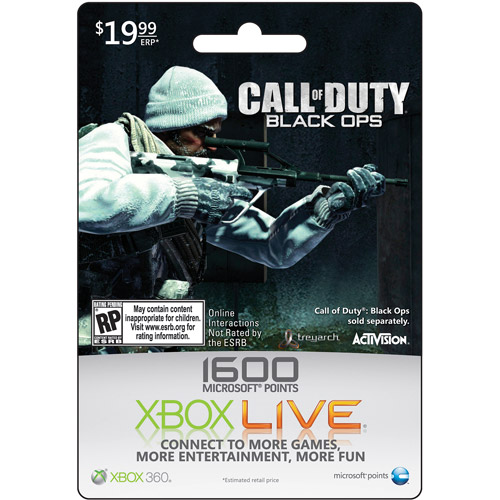 Xbox Live 1600 Points - COD Black Ops Art (Xbox 360)