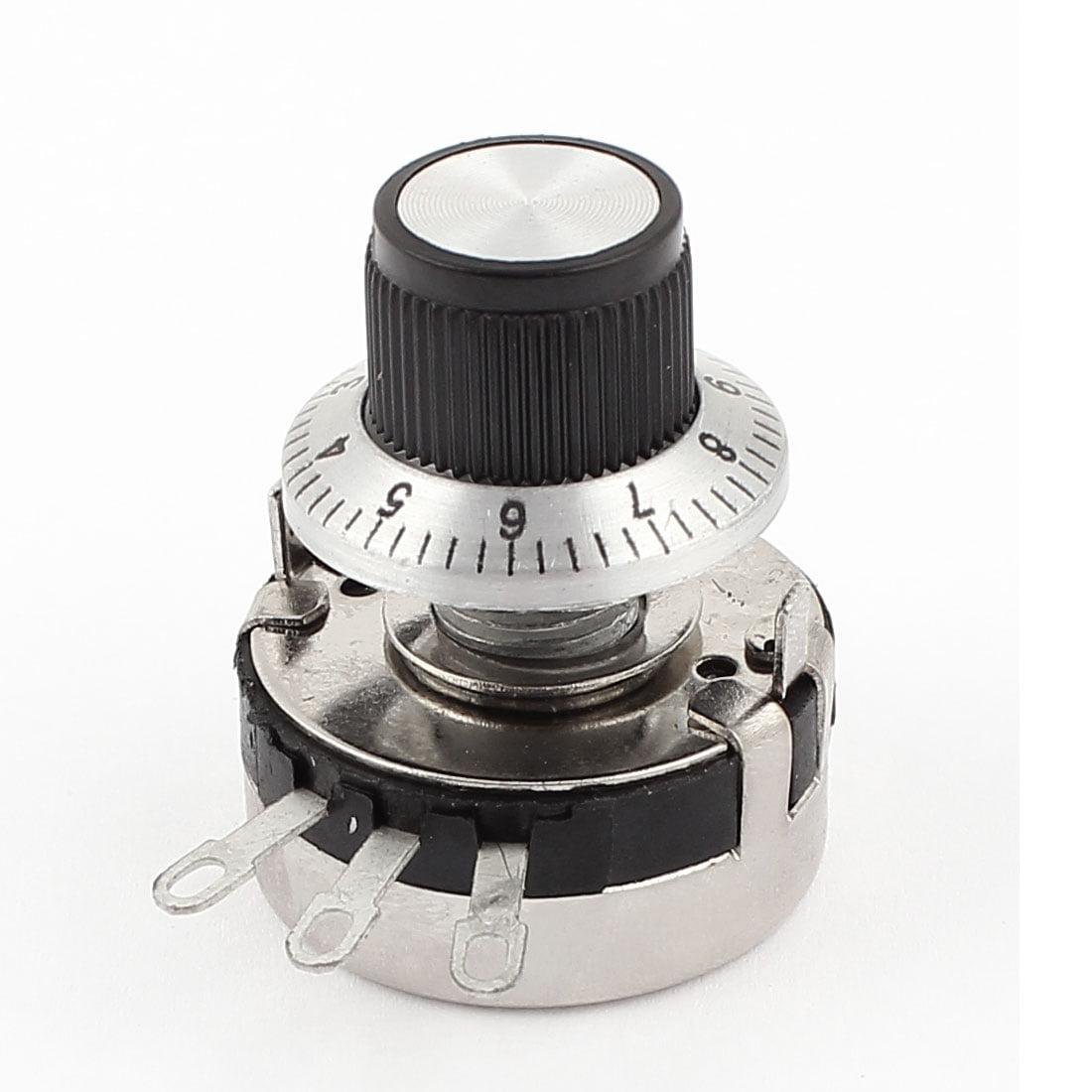Unique Bargains WTH118-2W 10K ohm Round Shaft Carbon Linear Variable Potentiometer w Dial Knob