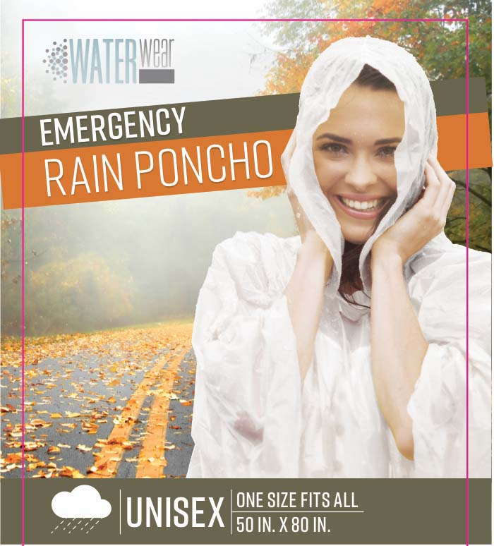 "Kennedy Home Collection Emergency Rain Poncho, 50"" x 80"""