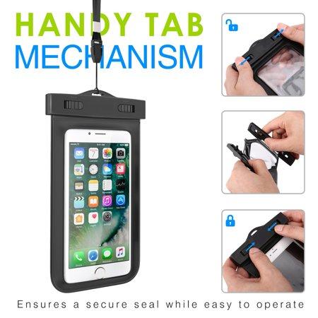 Waterproof Case Transparent Bag IPX8 Pouch Cover Touch Screen [Black] Q1V  for LG Stylo 4 Plus 3 Plus 2 V Plus, Q7 Plus Q6, Premier LTE, Lancet, K8+