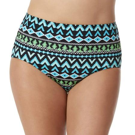 100 Degrees Women's Plus-Size Tribal Print High Waist Bikini Swimsuit Bottom