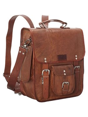 Sharo Genuine Leather Long Three-in-One Backpack/Brief/Messenger Bag
