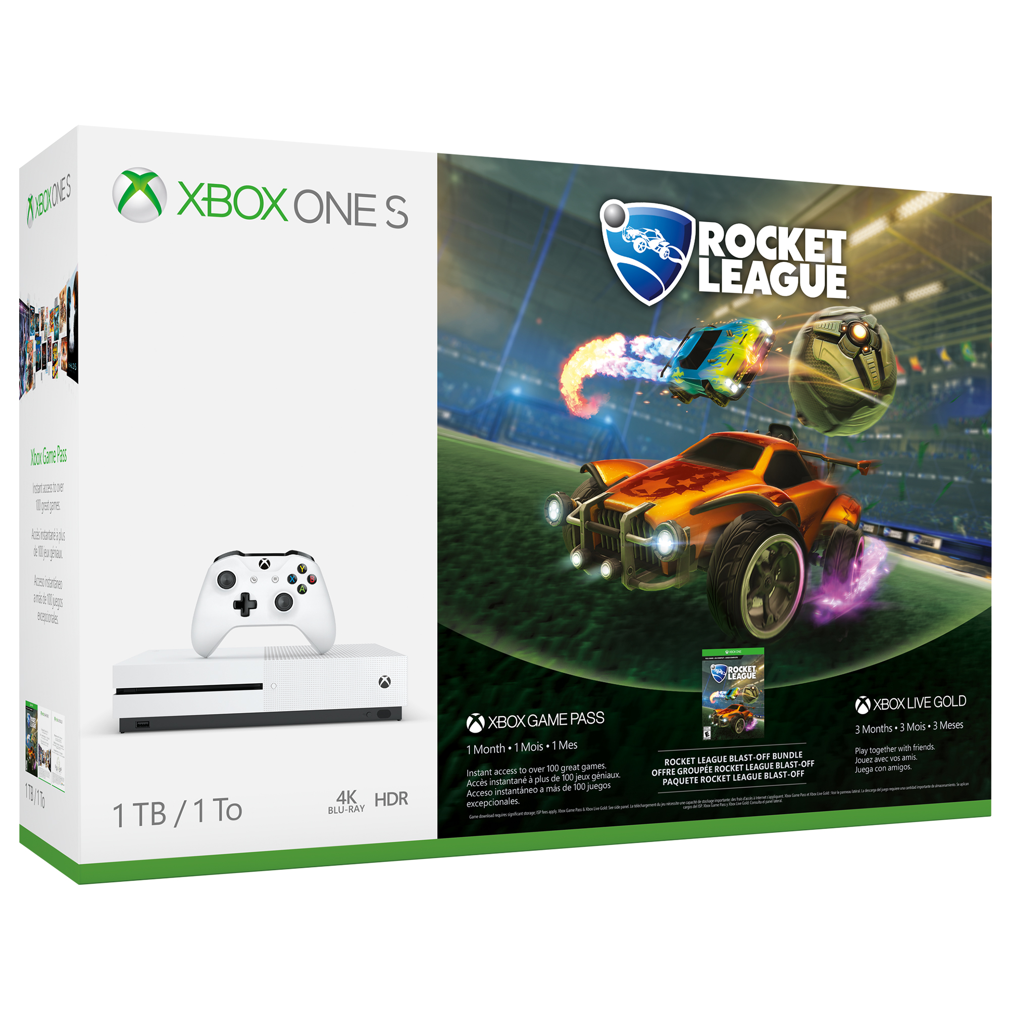 Refurbished Microsoft Xbox One S 1TB Rocket League Bundle, White, 234-00370