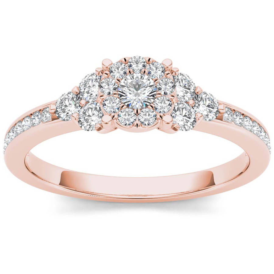 Imperial 1 2 Carat T.W. Diamond Single Halo 10kt Rose Gold Engagement Ring Set by Imperial Jewels