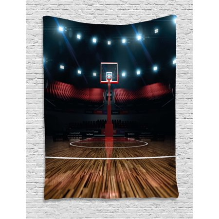 Teen Room Decor Tapestry, Professional Basketball Arena Stadium before Game Championship Sports Image, Wall Hanging for Bedroom Living Room Dorm Decor, 40W X 60L Inches, Multicolor, by Ambesonne for $<!---->
