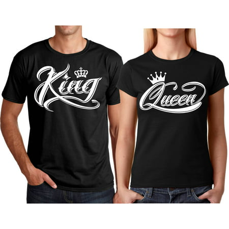 King & Queen NEW Design Valentines Christmas Gift Couple Matching Cute T-Shirts King-Black S