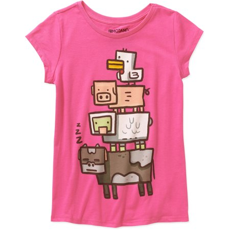 Minecraft Girls' Animal Totem Short Sleeve Crew Neck Graphic T-Shirt