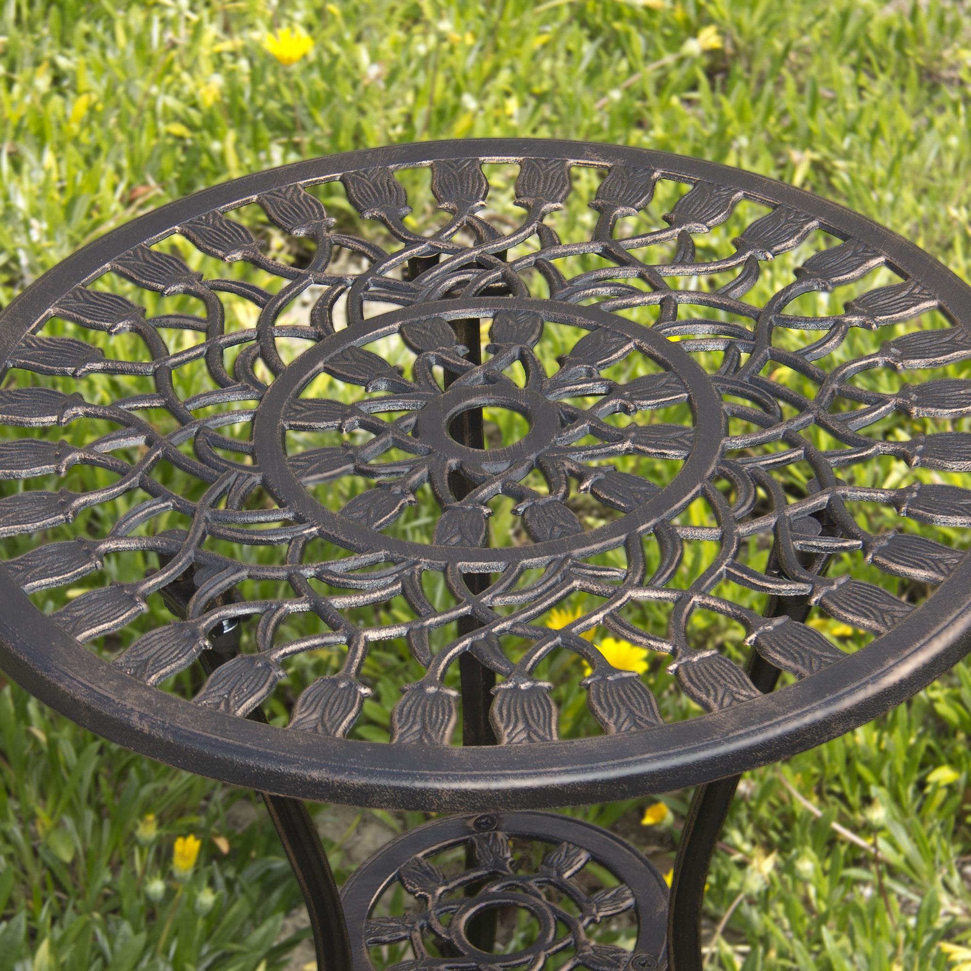 Best Choice Products Cast Aluminum Patio Bistro Furniture Set In Antique  Copper   Walmart.com