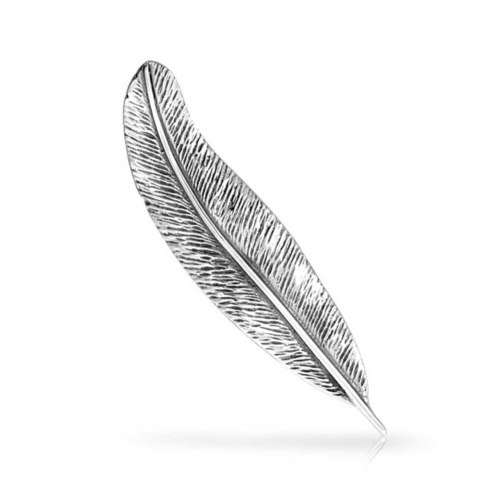 Bling Jewelry 925 Sterling Silver Feather Nature Leaf Brooch Pin by Bling Jewelry