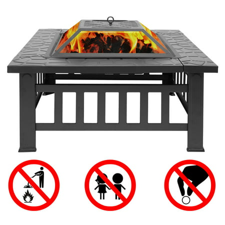 Hottest 32'' Outdoor Fire Pit Table, Multi-Purpose Square Fireplace, Backyard Patio Garden Outside Wood Burning Heater, BBQ, Ice Pit, with BBQ Frames&Waterproof Cover, Suitable for Party, Picnic, Camp