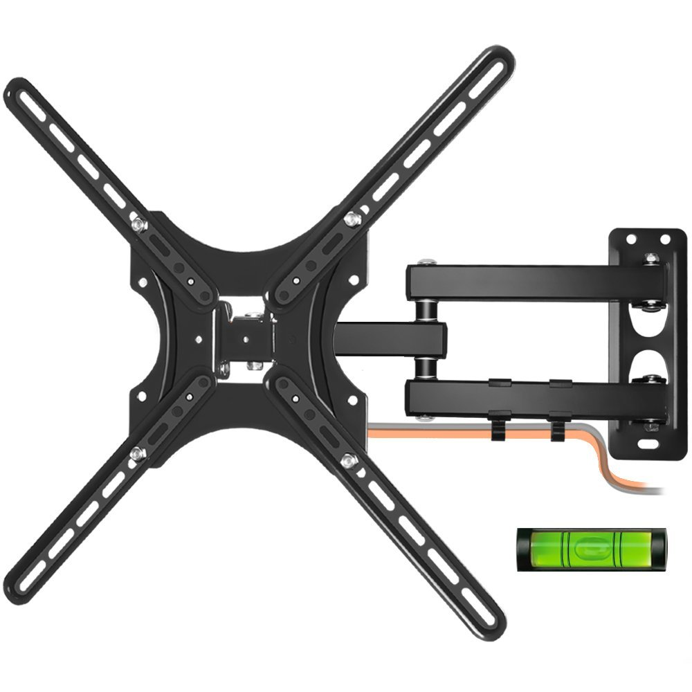 LCD TV Wall Mount, Kasonic Full Motion Swivel Articulating Arm Wall Mount Bracket for 26-55 Inches Flat Screen TVs with Load Capacity Up to 66 LBS