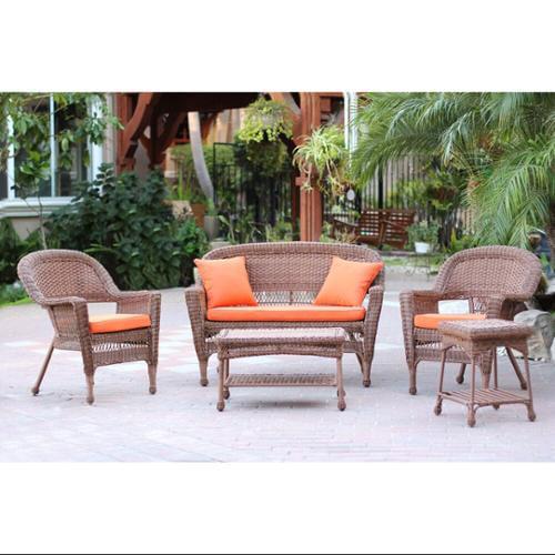 5-Piece Honey Wicker Patio Chair, Loveseat & Table Furniture Set - Orange Cushions