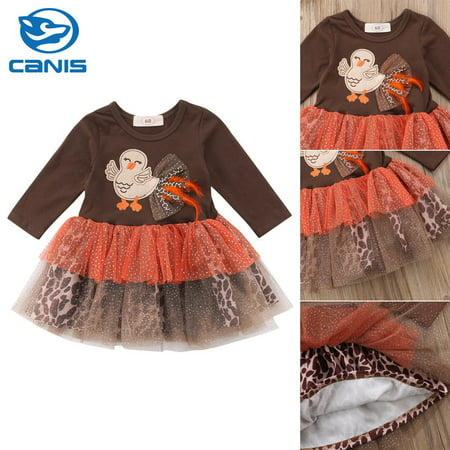 Newborn Baby Girl Thanksgiving Clothes Turkey & Leopard Tutu Dress Outfit - Turkey Trot Outfits