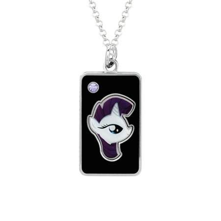 My Little Pony Fine Silver Plated Crystal Crystal Rarity Head Dog Tag Pendant Necklace