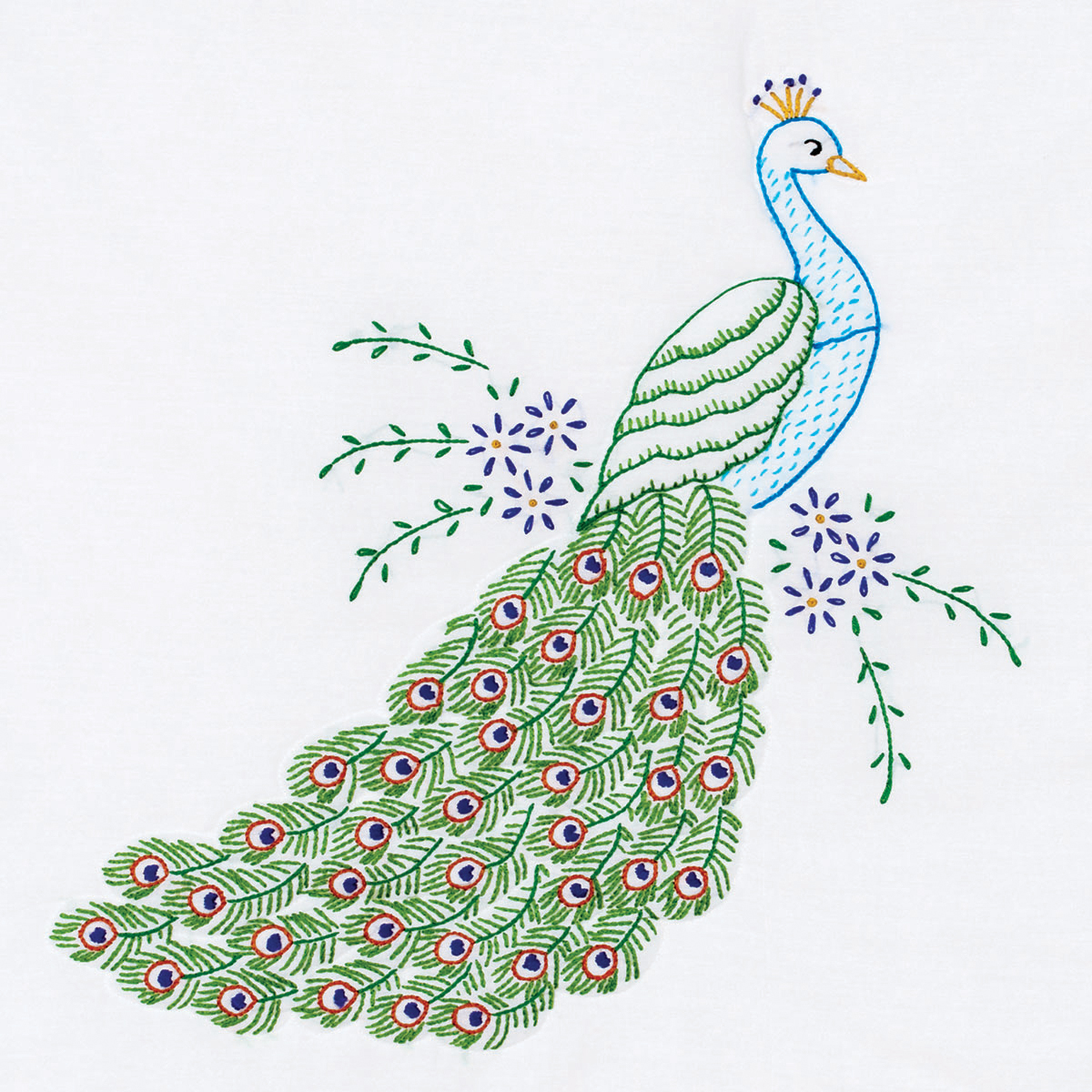 "Stamped White Quilt Blocks, 18"" x 18"", 6pk, Peacock"