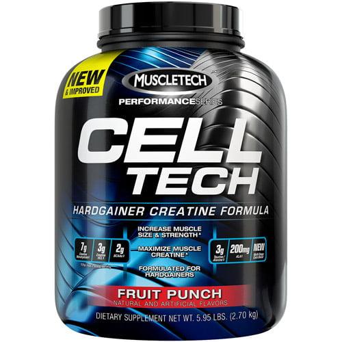MuscleTech Performance Series Cell Tech Hardgainer Creatine Formula Fruit Punch Dietary Supplement Powder, 5.95 lbs
