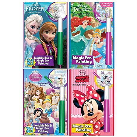 Disney's Characters Magic Pen Painting Activity Books, Set for Girls with ZIPPER BAG. Includes: Sisters Forever Frozen, Princess Happily Ever After and Enchanted Stable, Minnie Moments coloring books. (Minnie Mouse Coloring Book)