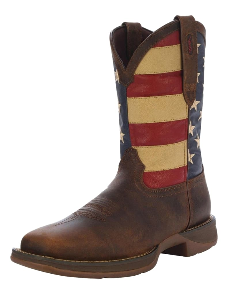 "Durango Western Boots Mens 12"" Rebel Patriotic Pull On Brown DB5554 by Durango"