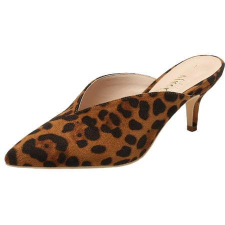 - G224-1 Women Pointed Toe Slip On Kitten Low Heel Mules Pumps Slides Leopard