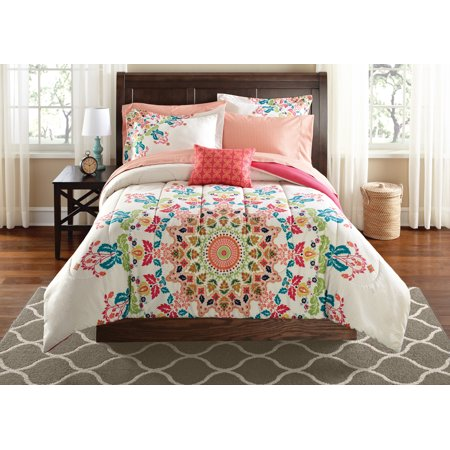 Mainstays Medallion Bed in a Bag 8-Piece Bedding Comforter Set, Queen ()