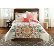 Mainstays Medallion Bed in a Bag Bedding 6-Piece Bedding Comforter Set, Twin