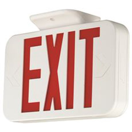 Green Letters Exit Sign - Compass Led Exit Sign With Nicad Battery, Red Letters, White, Damp Location Listed