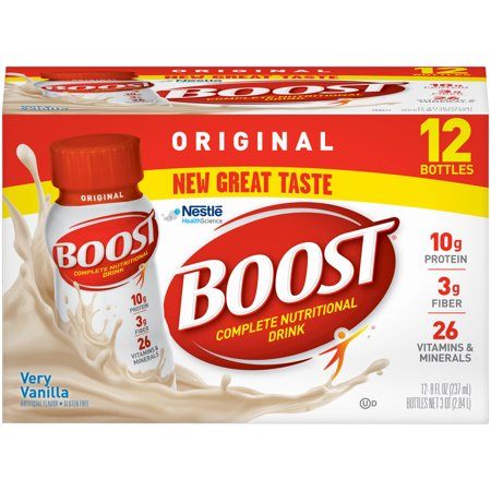 Boost Vanilla Vitamins - Boost Original Complete Nutritional Drink, Very Vanilla, 8 fl oz Bottle, 12 Count