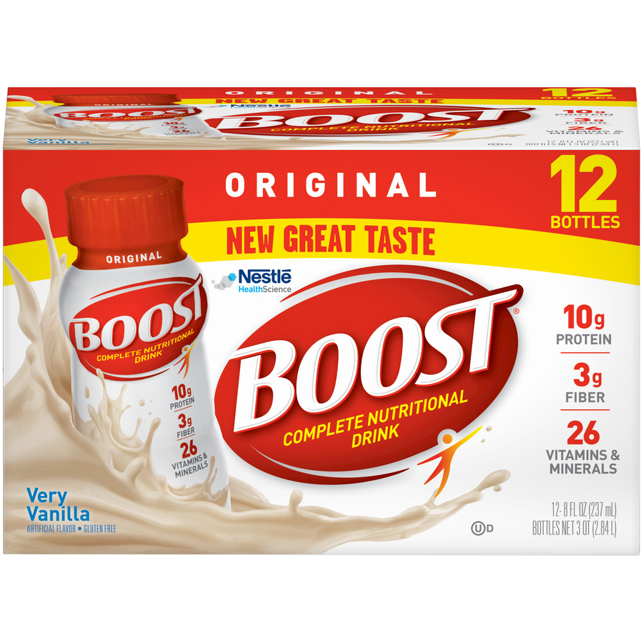 Boost Original Complete Nutritional Drink, Very Vanilla, 8 fl oz Bottle, 12 Count