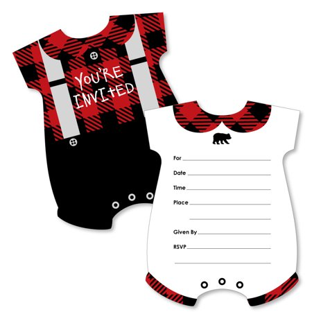 Lumberjack - Channel The Flannel - Baby Bodysuit Shaped Fill-In Buffalo Plaid Party Invitation Cards - Set of 12